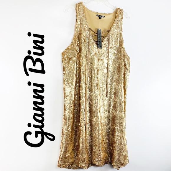 Gianni Bini Dresses & Skirts - Gianni Bini $129 NWT Gold Sequin Party Dress Large